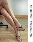 woman legs   black heel shoes | Shutterstock . vector #65980135