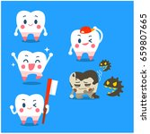 vector set of cute tooth... | Shutterstock .eps vector #659807665