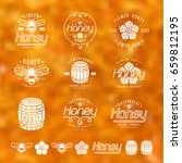 set of honey labels  badges and ... | Shutterstock .eps vector #659812195