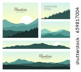 set of green mountains and... | Shutterstock .eps vector #659817004