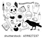 hand drawn magic objects.... | Shutterstock .eps vector #659827237