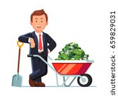 businessman standing leaning on ... | Shutterstock .eps vector #659829031
