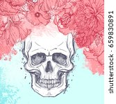 human skull with peony  rose... | Shutterstock .eps vector #659830891
