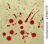 Splattered red ink stains on an old paper texture background - stock photo
