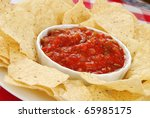 Spicy Red Salsa With A Plate O...