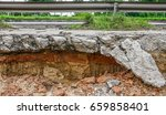 cracked concrete road with...   Shutterstock . vector #659858401