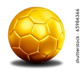 3d rendering of a golden football. ( Leather texture ) - stock photo