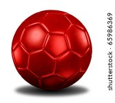 3d rendering of a red  football. ( Leather texture ) - stock photo