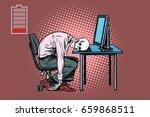 dead businessman skeleton at... | Shutterstock .eps vector #659868511