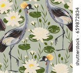 Seamless Pattern With Crane...