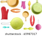 a collection of colorful kitchen appliance - stock photo