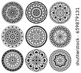 set of ornaments in a circle.... | Shutterstock .eps vector #659879131