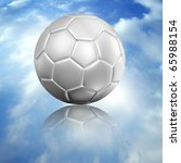 a white soccer football and reflect on blue sky - stock photo