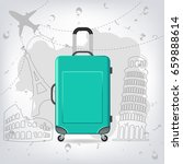 travel bag with different... | Shutterstock .eps vector #659888614