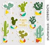 big set of cute cartoon cactus  ... | Shutterstock .eps vector #659890474