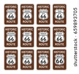 route 66 traffic sign historic... | Shutterstock .eps vector #659893705