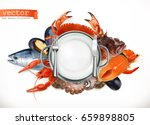 sea food logo. fish  crab ... | Shutterstock .eps vector #659898805