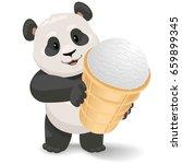 panda holding ice cream. vector ... | Shutterstock .eps vector #659899345