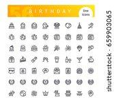 set of 56 happy birthday line... | Shutterstock .eps vector #659903065