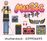 hip hop character musician with ... | Shutterstock .eps vector #659906695