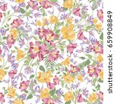 floral leaves seamless pattern. ... | Shutterstock .eps vector #659908849