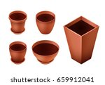 set of empty ceramic brown... | Shutterstock .eps vector #659912041