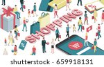 people enjoying shopping online ... | Shutterstock .eps vector #659918131