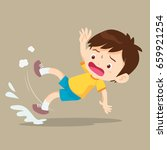 boy slip and falling on the wet ... | Shutterstock .eps vector #659921254