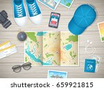 preparing for vacation  travel  ... | Shutterstock .eps vector #659921815