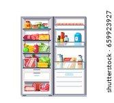 open door refrigerator full of... | Shutterstock .eps vector #659923927