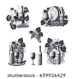 wine bar logo set with glass ... | Shutterstock .eps vector #659926429