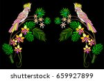 embroidery cockatoo parrots in... | Shutterstock .eps vector #659927899