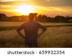 young handsome farmer standing... | Shutterstock . vector #659932354