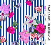 floral tropical patten collage... | Shutterstock . vector #659941981