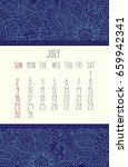 july 2017 vector calendar over...   Shutterstock .eps vector #659942341