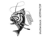 angry piranha fishing logo.... | Shutterstock .eps vector #659946739