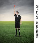referee showing a red card | Shutterstock . vector #65995252