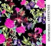 floral pattern luminous flowers ... | Shutterstock . vector #659957455