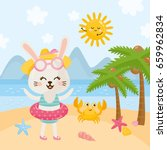 summer illustration with cute... | Shutterstock .eps vector #659962834