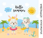 summer illustration with cute... | Shutterstock .eps vector #659962864