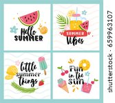 vector set of four summer cards ... | Shutterstock .eps vector #659963107