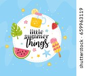 """little summer things"" greeting ... | Shutterstock .eps vector #659963119"