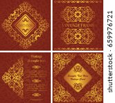 set of cards with golden... | Shutterstock .eps vector #659976721