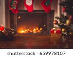 closeup of red christmas gift... | Shutterstock . vector #659978107