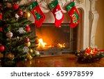empty wooden table in front of... | Shutterstock . vector #659978599