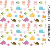 Stock vector cute vector colorful seamless pattern with sea animals for kids and baby summer designs 659985424