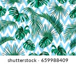 vector tropical palm leaves... | Shutterstock .eps vector #659988409