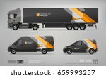 mockup set of truck trailer ... | Shutterstock .eps vector #659993257