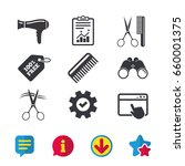 hairdresser icons. scissors cut ...