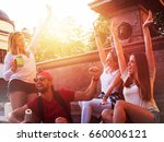 group of friends having fun by... | Shutterstock . vector #660006121